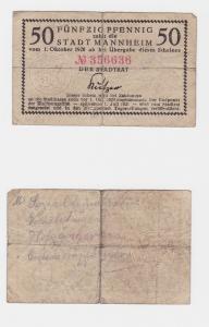 50 Pfennig Banknote Notgeld Stadt Mannheim 1.10.1920 (121170)