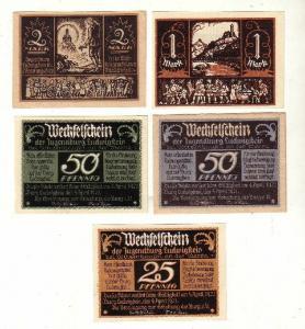 5 Banknoten Notgeld Witzenhausen Jugendburg Ludwigstein 1921 (116673)