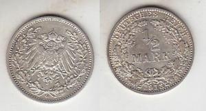 1/2 Mark Silber Münze Kaiserreich 1913 G, Jäger 16  (111603)