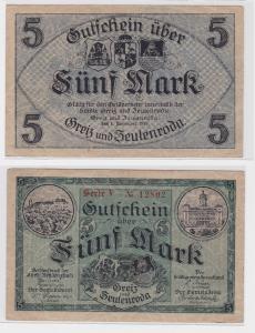 5 Mark Banknote Gemeinde Greiz und Zeulenroda 1.11.1918 (122419)