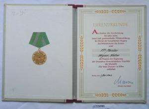 DDR Urkunde Medaille für treue Dienste Ministerium des Innern in Silber (114181)
