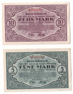 5 & 10 Mark Banknoten Notgeld Kreis Mosbach 15.11.1918 (110551)