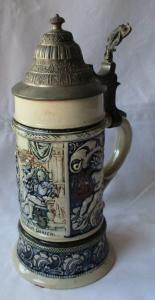 Seltener Keramikkrug 1/2 Liter mit Spieluhr und Zinndeckel um 1910 (111852)