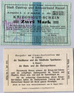 2 Mark 1914 Kriegs-Gut-Schein Stadt Castrop & Amstverband Rauxel (122176)