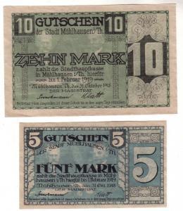 5 und 10 Mark Banknoten  Stadt Mühlhausen in Thüringen 1918 (112284)