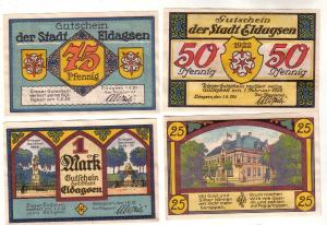 4 Banknoten Notgeld Stadt Eldagsen 1.6.1921 (113424)