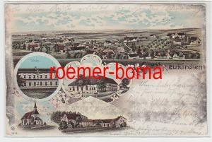 75678 Ak Lithografie Gruss aus Neukirchen Gasthaus, Rittergut, Schule usw. 1904
