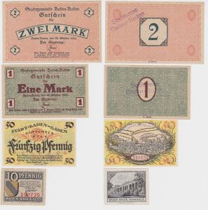 4 Banknoten Notgeld Stadt Baden Baden 1919/1920 (122538)
