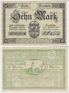 10 Mark Banknote Notgeld Stadt Darmstadt 1.10.1918 (121080)