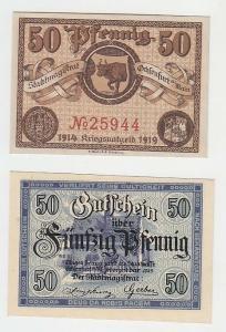 2 x 50 Pfennige Banknoten Notgeld Stadt Ochsenfurt am Main 1919 (110904)