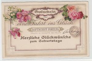 25651 Glückwunsch Ak Fahrt in Glück mit Luftschiff Fortuna 1931