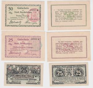 2 x 25 & 50 Pfennig Banknoten Notgeld Stadt Zweibrücken 1917/1919 (121357)