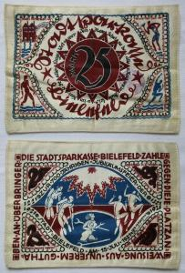 25 Mark Banknote Seide Stadtsparkasse Bielefeld 15.Juli 1921 (124632)