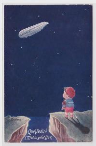 88561 Künstler AK Quo Vadis? (Wohin gehst du?), Engländer schaut Zeppelin nach