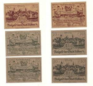 3 Banknoten Notgeld Stadt Köben an der Oder 1920 (112966)