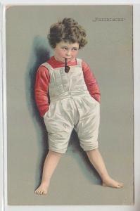 64400 Humor Ak Kleiner Junge mit Tabakpfeife