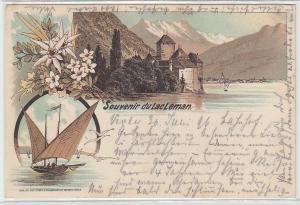 68761 Ak Lithographie Souvenir du Lac Leman Genfersee 1896