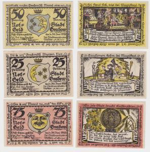 25, 50 & 75 Pfennig Banknoten Notgeld Stadt Grabow gültig bis 30.6.1922 (121096)