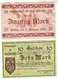 10 & 20 Mark Banknoten Notgeld Stadt Elberfeld 25.10.1918 (112322)