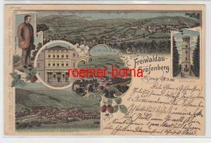 72332 Ak Lithografie Gruss aus Freiwaldau-Gräfenberg Buchdruckerei usw. 1900