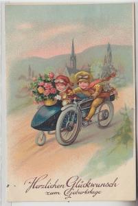 67917 Glückwunsch Ak Kinder fahren mit Motorrad Gespann um 1910