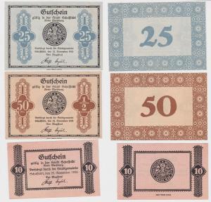 10, 25 & 50 Pfennig Banknoten Notgeld Stadt Schafstädt 1920 (120270)