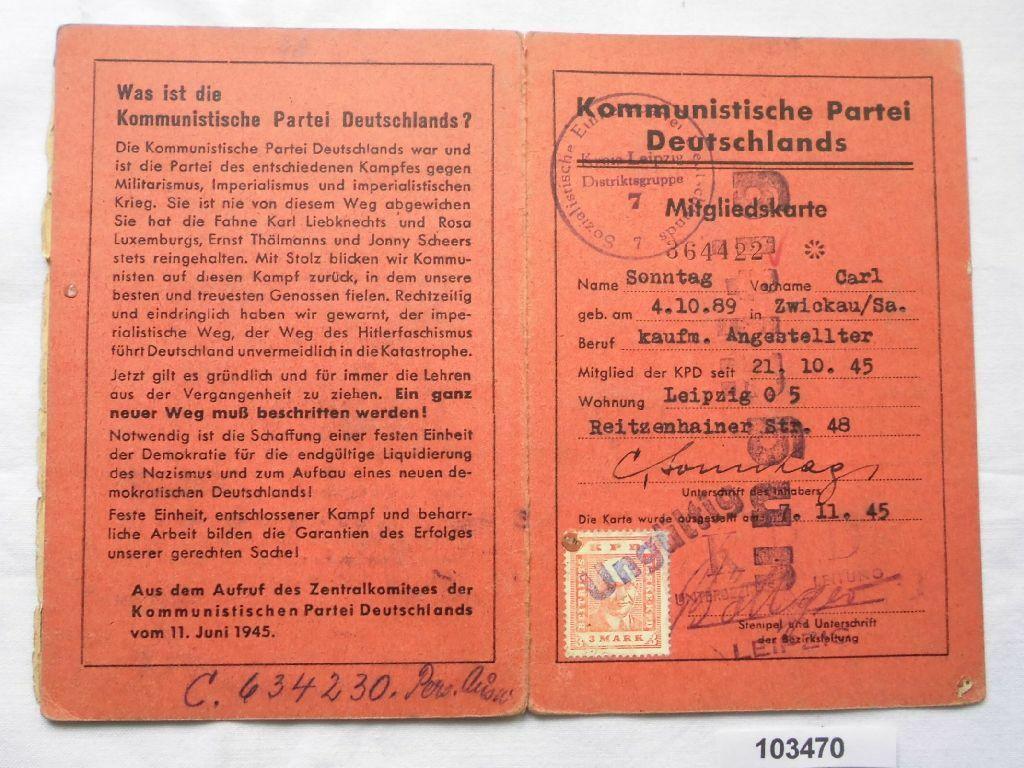 Mitgliedskarte kommunistische Partei Deutschlands 1945 (103470) 0