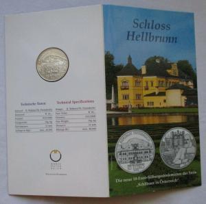 Mappe 10 Euro Silbermünze Österreich Schloss Hellbrunn 2004 (125470)