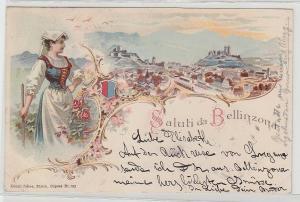 78549 Ak Lithographie Saluti da Bellinzona in der Schweiz 1899