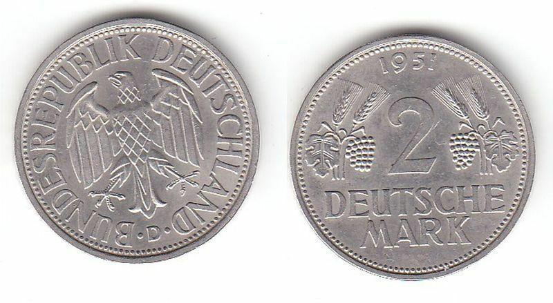 2 Mark Nickel Münze BRD Trauben und Ähren 1951 D (112852) 0