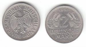 2 Mark Nickel Münze BRD Trauben und Ähren 1951 D (112852)