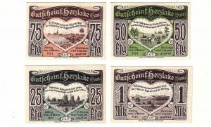 4 Banknoten Notgeld K.K.V. Herzlake Hannover 1921 (113569)