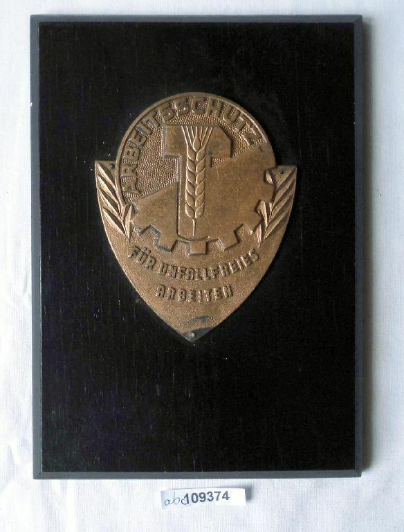 DDR Plakette Arbeitsschutz Für unfallfreies Arbeiten auf Holztafel (109374) 0