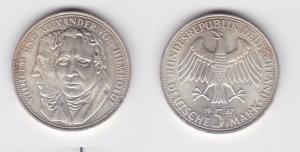5 Mark Silber Münze Deutschland Gebrüder Humboldt 1967 F (124303)