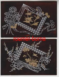 74187 / 2 interessante beschichtete Künstler-Postkarten mit Blüten um 1910