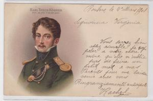 87598 Künstler AK Carl Theodor Körner 23.9.1791-26.8.1813 Portrait 1901