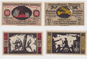 50 & 75 Pfennig Banknoten Notgeld Gemeinde Przyschetz ohne Datum (1921) (120317)