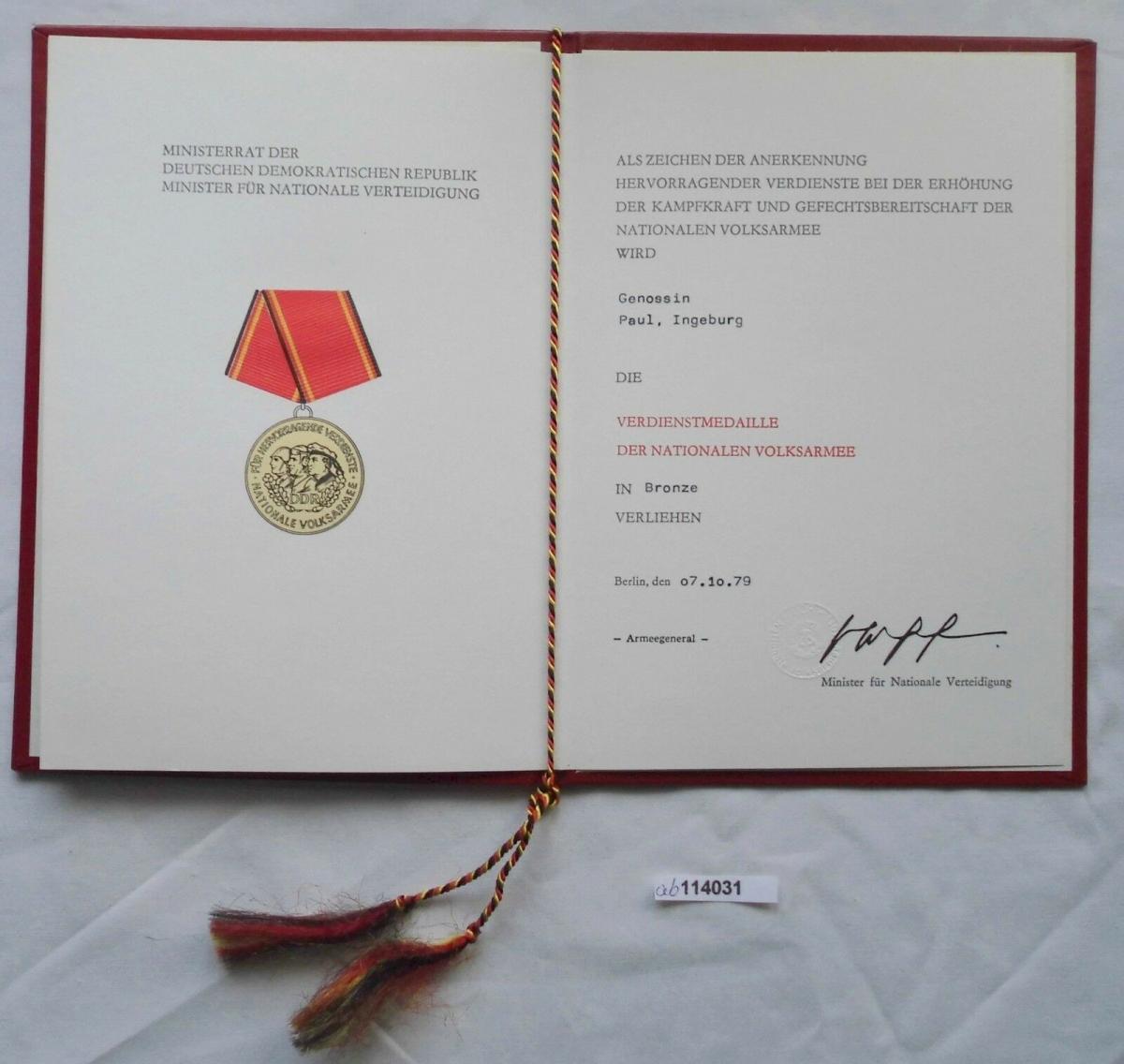 DDR Urkunde Verdienstmedaille der NVA in Bronze 1979 (114031) 0