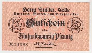 25 Pfennig Banknote Harry Trüller Zwieback- & Keksfabriken Celle 1918 (105427)