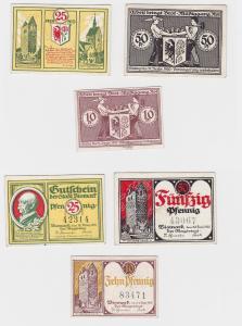 3 Banknoten Notgeld Stadt Bismarck 1920 (121260)