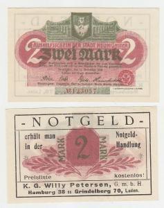 2 Mark Notgeld Notgeldhandlung Willy Petersen Hamburg Grindelberg 70 !! (116229)