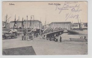 66096 Feldpost Ak Libau in Lettland Stadt Brücke 1917