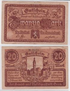 20 Mark Banknote Notgeld Residenzstadt Gera ohne Datum  (121782)