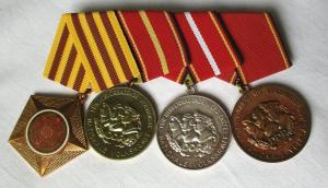 DDR 4er Ordensspange Kampforden + Verdienstmedaille der NVA (130364)