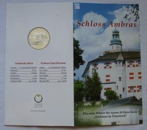 Mappe 10 Euro Silbermünze Österreich Schloss Ambras 2002 (125453)