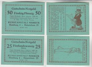 25 & 50 Pfennig Banknoten Notgeld Hamburg Kunstanstalt Merkur 1920 (115847)