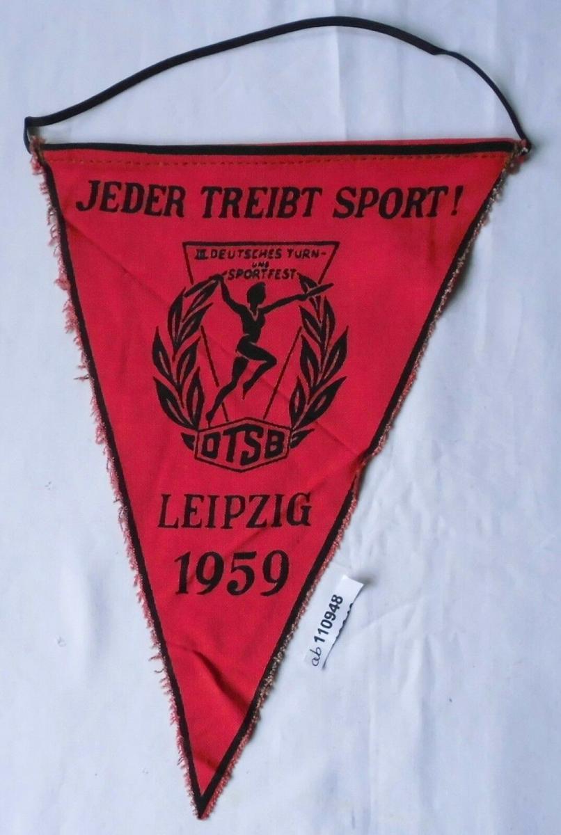 DDR Wimpel 3.Deutsches Turn-& Sportfest Leipzig 1959 Jeder treibt Sport (110948) 0