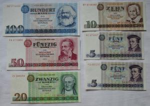 Satz DDR Banknoten 5 bis 100 Mark 1971/1975 UNC./ KASSENFRISCH ! (116017)
