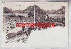 78490 Ak Lithographie Gruss aus Ebensee Landungsplatz usw. um 1900