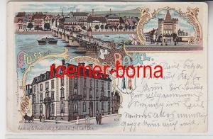 74274 Ak Lithografie Gruss aus Basel Gasthof Badischer Hof usw. 1908